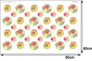 PST#30 Round Flower 2sheets, Mural Decals Wall Sticker