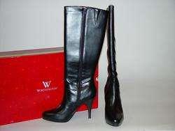 NIB Worthington Black 4+ Spike High Heel Knee Boots 11