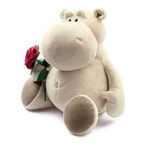 NICI Candy Love, Nilpferd, beige, sitzend, 25cm, Plüsch, mit Rose