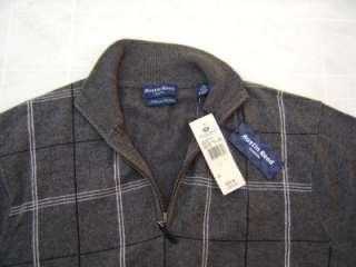 New Austin Reed Mens Polo XL Half Zip Sweater 45% Cashmere 55% Silk
