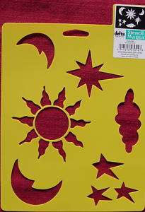 Stencil Celestial Sun moon stars clouds Scrapbook Paint Kids Crafts