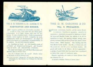 Folding Trade Card, Osborne Farm Machinery, c1880s
