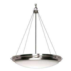Glomar Polaris 3 Light Hanging Brushed Nickel Pendant with White Shade