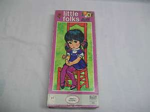 Vintage Old Retro Hippie Big Sad Eyed Girl Little Folks Jigsaw Puzzle