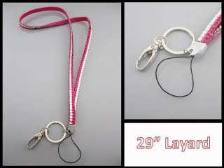 Rhinestone Crystal 2 Tone Bling Badge ID Key Holder Lanyard Pink Color
