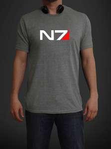 N7 Mass Effect 3   Systems Alliance Military Emblem   Tee T Shirt GREY