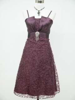 Cherlone Satin Dark Purple Lace Prom Ball Cocktail Party Evening Dress