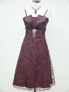 Cherlone Satin Dark Purple Lace Prom Ball Cocktail Party Evening Dress