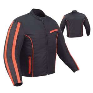 Mens Black & Orange Motorcycle Jacket Nylon