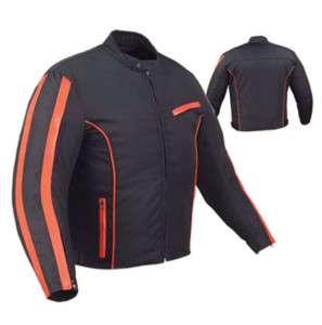 Mens Black & Orange Motorcycle Jacket Nylon
