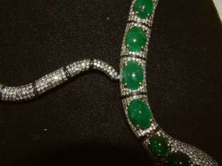 FABULOUS HUGE GOLD SILVER EMERALD DIAMOND SNAKE NECKLACE COLLAR