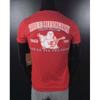 NWT Mens TRUE RELIGION T Shirt DOUBLE PUFF HORSESHOE in RED