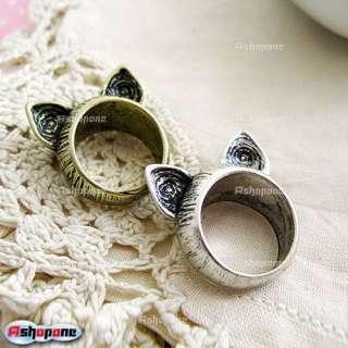 Hot Korean Retro Vintage Cute Silver Bronze Cat Ears Ring