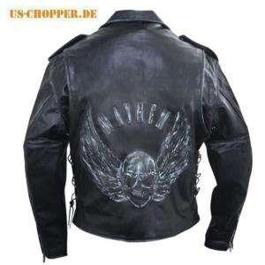Orig. Xelemet Motorrad Leder Jacke Biker Jacke Skull
