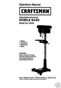 Craftsman DRILL PRESS Mobile Base Manual Model 22252