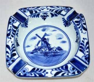 Windmill Blue White Hand Painted Ash Tray 673 w/ Crown MINT