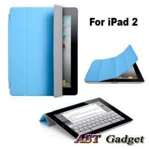 Blue Magnetic Polyurethane Smart Case Cover For iPad 2
