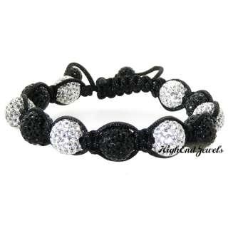 Black and White 10mm Swarovski Crystal Shamballa Disco Ball Bracelet