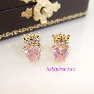 AUTHENTIC Juicy Couture Pink Heart Crown Earrings