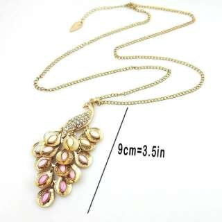 Gold Tone Pink Peacock Multi Sequin Pendant Necklace