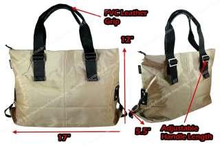 Dark Khaki Soft Nylon Double Strap Tote Shoulder Bag