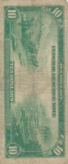 1913 $10 Federal Reserve Note, Blue Seal Large Size Ten Dollar US, 7