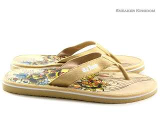 New Ed Hardy Miami Sand Brown Flip Flop Sandal Men Size