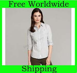 NEW TOMMY HILFIGER WOMENS LONG SLEEVE PINPOINT OXFORD BUTTON DOWN