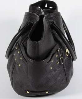 Cole Haan Brown Pebbled Leather Hobo Handbag Purse Tote Gold Studded