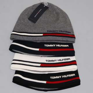 NWT TOMMY HILFIGER BEANIE CAP HAT LOGO BLUE NAVY WHITE BLACK ONE SIZE