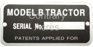 JOHN DEERE B SERIAL NUMBER TAG