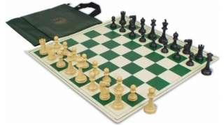 Club Black & Camel Plastic Chess Set Kit   Green Bag