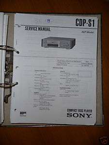 Service Manual Sony CDP S1 CD Player,ORIGINAL |