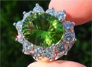 10.69 Carat Natural Peridot & Diamond Vintage Ring 14k Gold