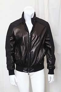 BOTTEGA VENETA Mens Black Leather & Nylon Bomber Jacket Coat Hoodie 50