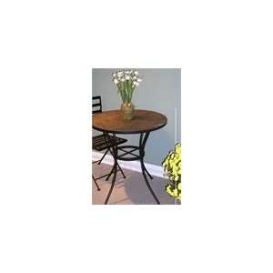 4D Concepts Black Round Table with Slate Top Home