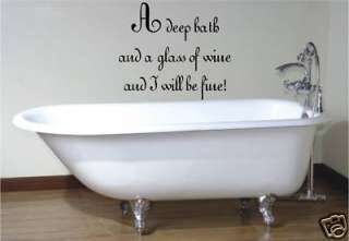 BATH & WINE BATHROOM VINYL WALL ART STICKER BATH
