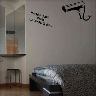 WALL STICKER CCTV WHAT ARE YOU LOOKING AT VINYL ART DECOR DECAL
