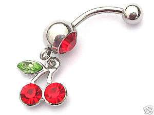 GORGEOUS AUSTRIAN CRYSTAL RED CHERRY BELLY BAR/PIERCING