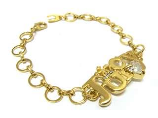 Antique Gold Crown & Crystal Heart Link Bracelet 7