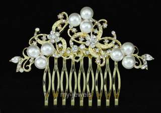 Wedding White Faux Pearl Gold Plated Hair Comb T1368