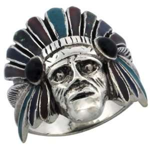 Sterling Silver Indian Chief Ring w/ Colored Enamel War Bonnet, 1 in