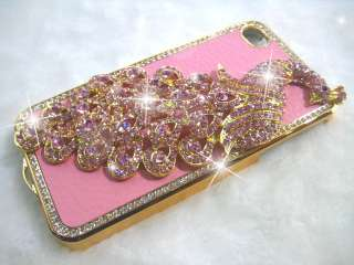 Peacock Bling Diamond Crystal Hard Back Case Cover for iPhone 4S 4 4G