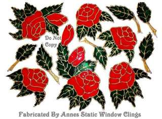 ROSES LEAVES WINDOW CLING STAINED GLASS EFFECT DECALS