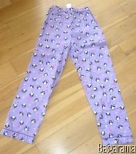 PRIMARK AGE 9/10 GIRLS PENGUIN PURPLE PYJAMA BOTTOMS