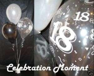 18TH BIRTHDAY Party Balloon Decoration Kit BLACK/WHITE