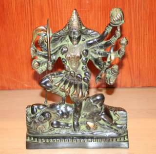 KALI MAA INDIAN BRASS HINDU GODDESS DEITY STATUE 3+kg REDUCED TO SELL