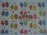 WRAPPING PAPER & TAGS   Happy 40th Birthday (Word Play)