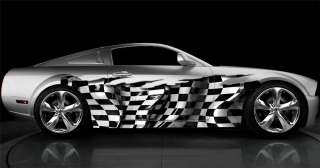 FULL COLOR CAR VINYL GRAPHIC CHECKERED FLAG WRAP 035 1