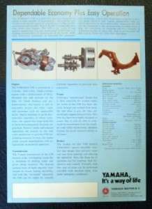 YAMAHA V 90 MOTORCYCLE SALES SHEET 1977.